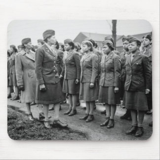 Black Officers Inspecting Troops WWII England Mousepads
