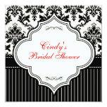 Black & Offiwhite Damask Bridal Shower Invitation