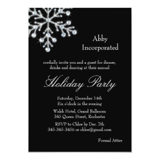 Black Offset Crystal Snowflake Holiday Invitation