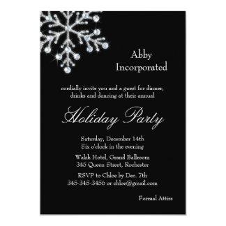Black Offset Crystal Snowflake Holiday Invitation