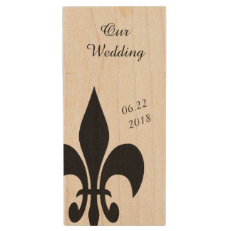 Black Offset Fleur de Lis Event Flash Drive