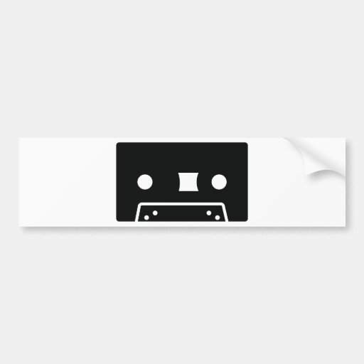 black oldschool tape icon bumper sticker