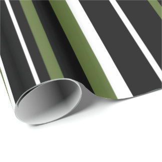 Black, Olive Green, and White Stripe Wrapping Paper