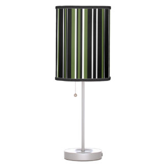 Black, Olive Green, and White Vertical Stripe Lamp