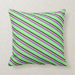 [ Thumbnail: Black, Olive Green, Bisque, Dark Orchid & Green Throw Pillow ]