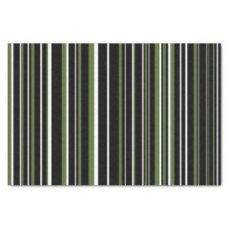 """Black, Olive Green, White Barcode Stripe 10"""" X 15"""" Tissue Paper"""