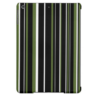 Black, Olive Green, White Barcode Stripe Cover For iPad Air