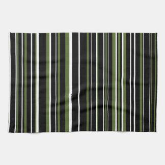 Black, Olive Green, White Barcode Stripe Hand Towels