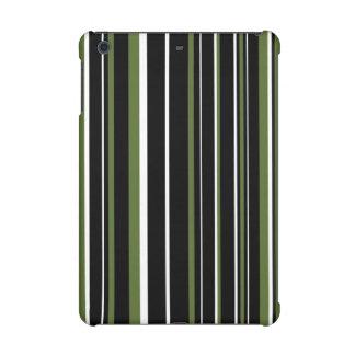 Black, Olive Green, White Barcode Stripe iPad Mini Case