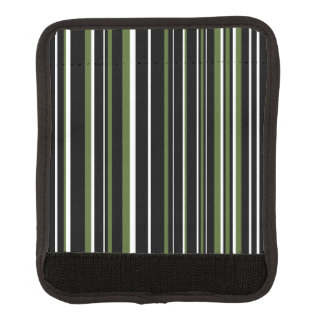 Black, Olive Green, White Barcode Stripe Luggage Handle Wrap