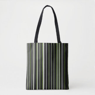 Black, Olive Green, White Barcode Stripe Tote Bag