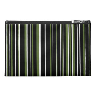 Black, Olive Green, White Barcode Stripe Travel Accessory Bag