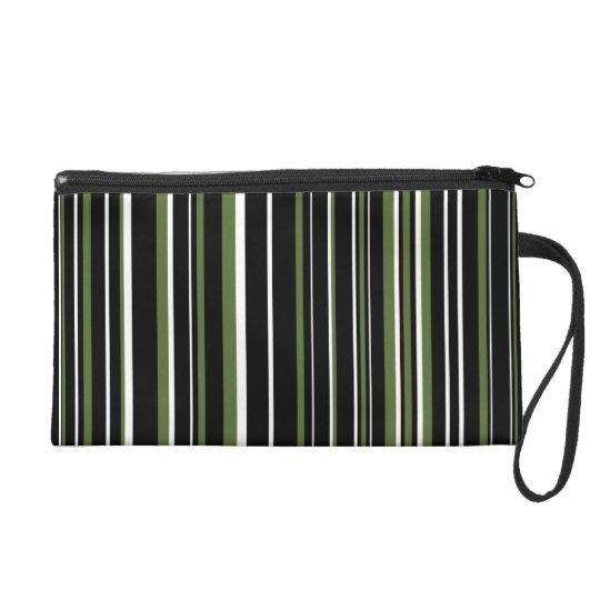 Black, Olive Green, White Barcode Stripe Wristlet Purse
