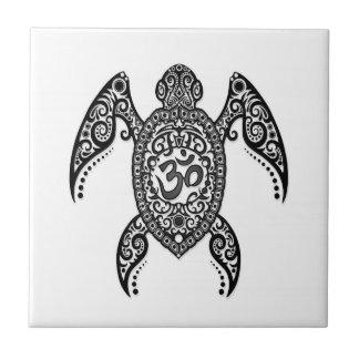 Black Om Sea Turtle on White Tile