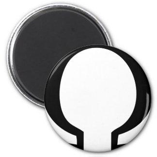 black omega icon 2 inch round magnet