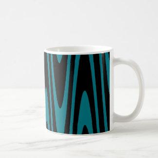 Black On Biscay Bay Blue Wavy Mug