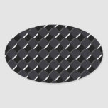 Black on Black Checkers Oval Sticker