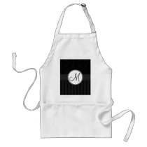 Black on Black Damask and Stripes with Monogram Adult Apron