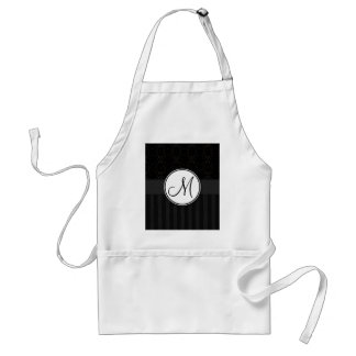 Black on Black Damask and Stripes with Monogram Apron