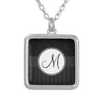 Black on Black Damask and Stripes with Monogram Silver Plated Necklace