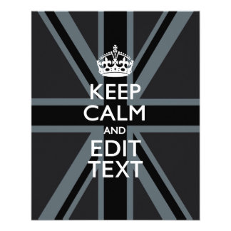 Black on Black  Keep Calm and Your Text Union Jack Flyer