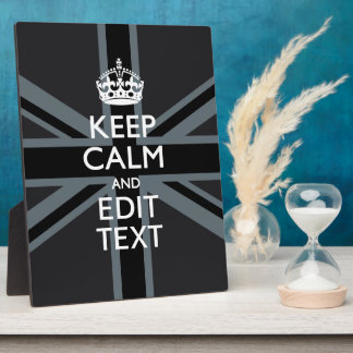 Black on Black  Keep Calm Get Your Text Union Jack Plaque