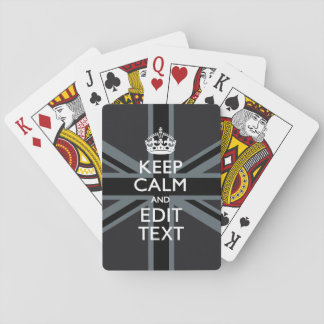 Black on Black  Keep Calm Get Your Text Union Jack Playing Cards