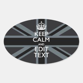 Black on Black  Keep Calm Personalized Union Jack Oval Sticker