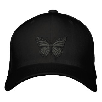 Black on Black Monarch Butterfly Embroidered Hat