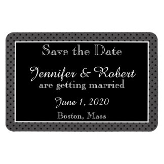 Black on Black Polka Dots Wedding Save the Date Rectangular Photo Magnet