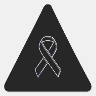 Black on Black Ribbon Awareness Triangle Sticker