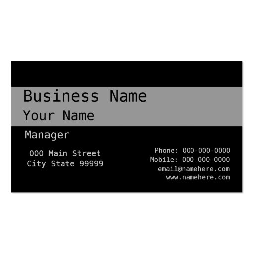 Black On Gray On Black Business Card Templates