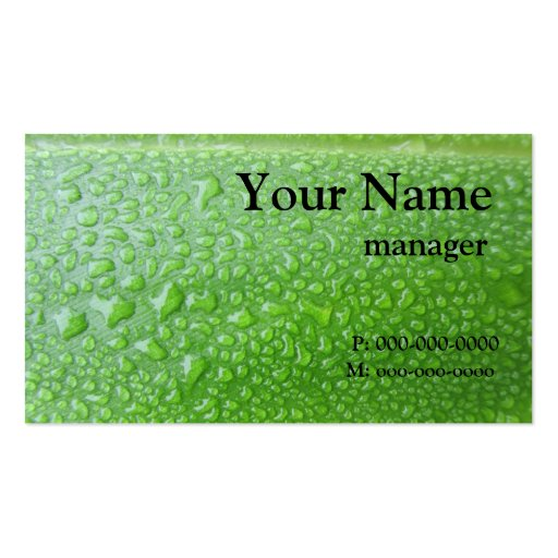 Black On Green Leaf Business Card Templates