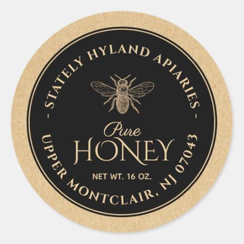 Black on Kraft Honey Label Vintage Bee