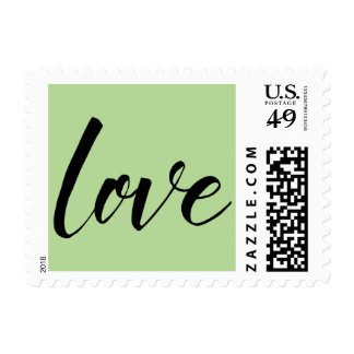 """Black on Light Green Typography, """"love"""", 18a Postage"""