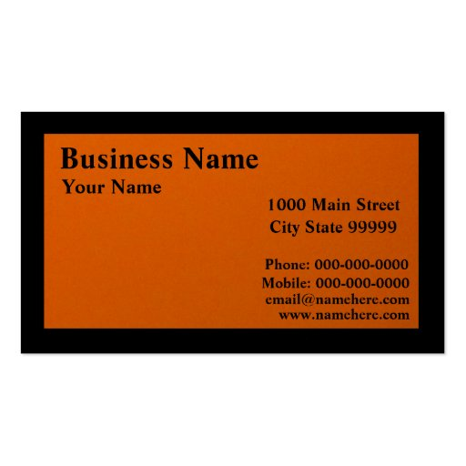 Black On Orange Business Card Template