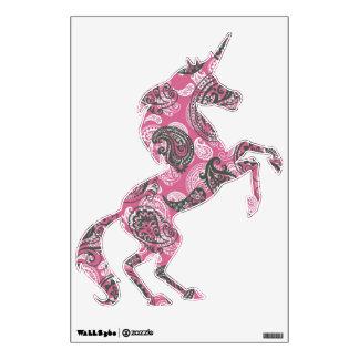 Black on Pink Paisley Unicorn Wall Sticker