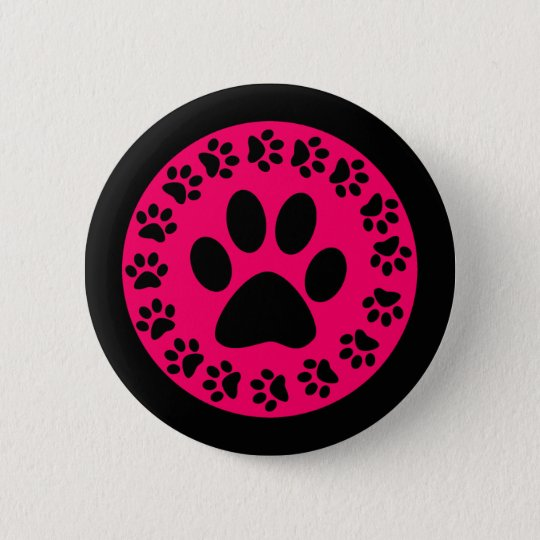 Black on Pink Paw Prints Button