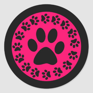 Black on Pink Paw Prints Round Stickers