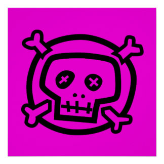 Black on Pink Skull and Crossbones Posters
