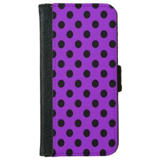 Black on Purple Polka Dot iPhone 6/6s Wallet Case