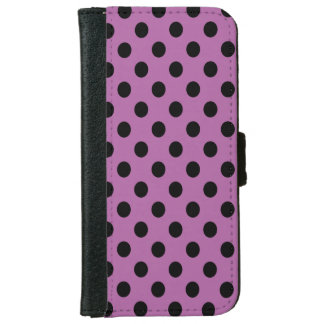Black on Radiant Orchid Polka Dot iPhone 6/6s Wallet Case