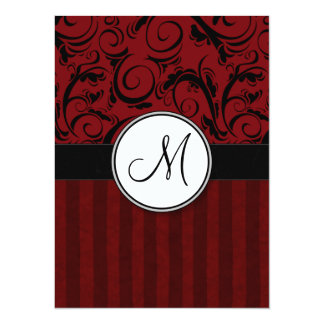 Black on Red Floral Wisps & Stripes with Monogram Card