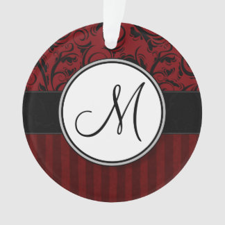 Black on Red Floral Wisps & Stripes with Monogram Ornament