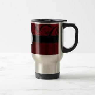 Black on Red Floral Wisps & Stripes with Monogram Travel Mug