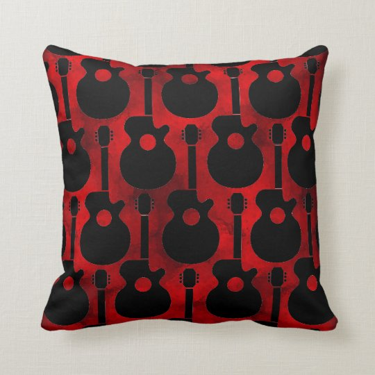 black on red guitar pattern pillows