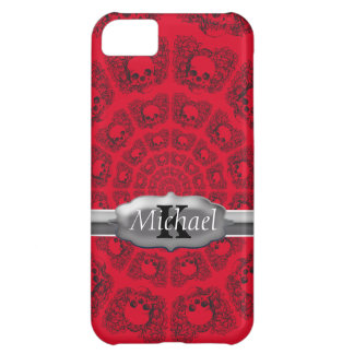Black On Red Infinity Skulls Monogram iPhone 5C Cover