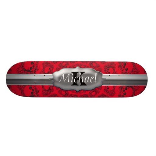 Black On Red Infinity Skulls Monogram Custom Skate Board