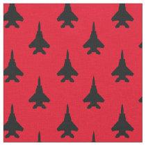 Black on Red Strike Eagle Fighter Jet Pattern Fabric