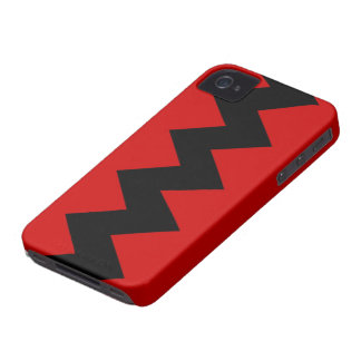 Black on Red Zig Zag iPhone 4 4S Barely There Case iPhone 4 Cover